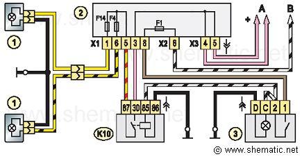 Схема и расположения противотуманных фар