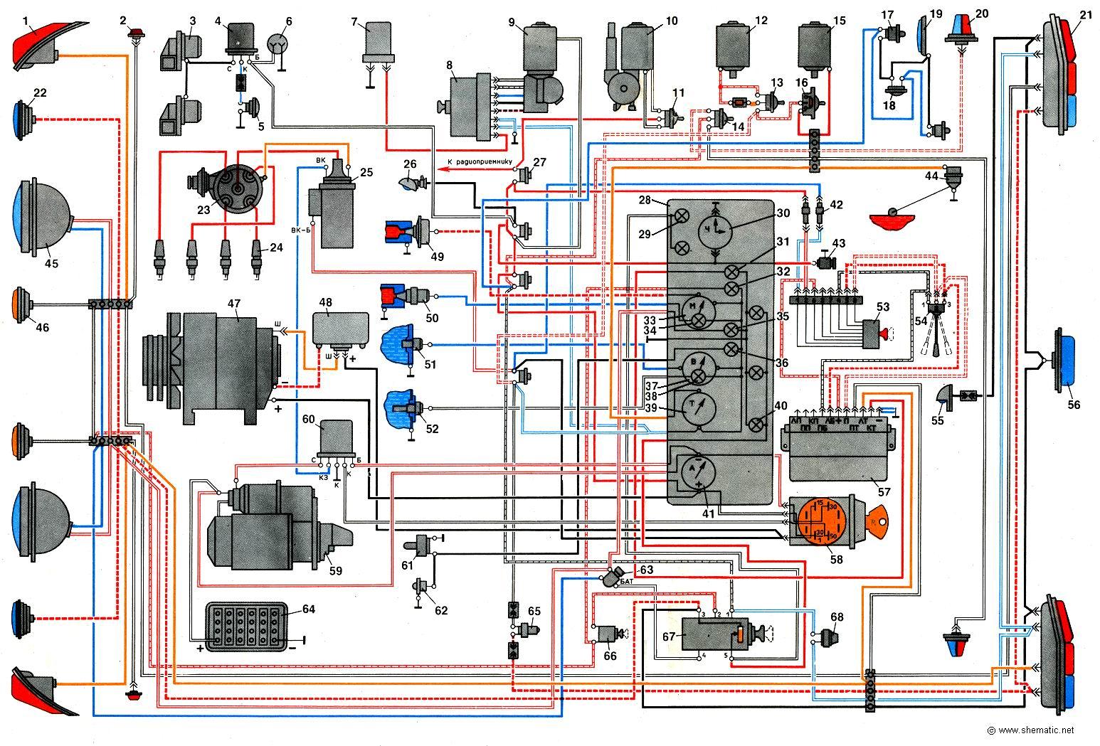Схема электропроводки газ 52 цветная с описанием фото 580