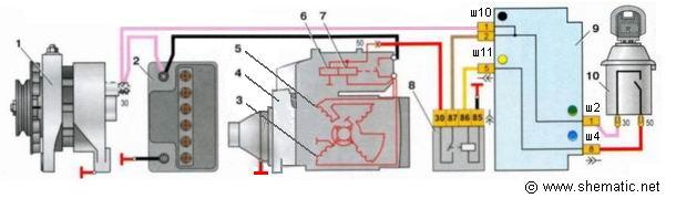 Схема стартер ваз 2105