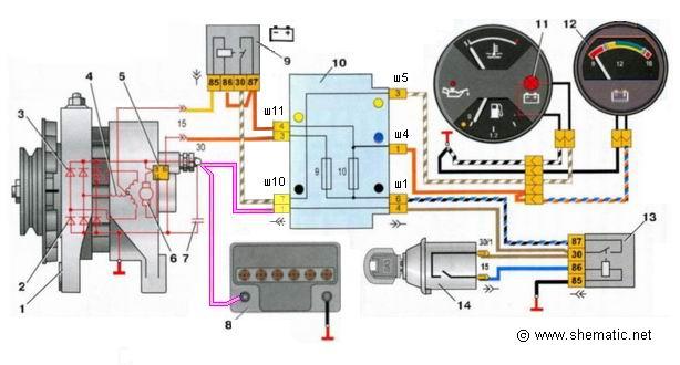 Схема соединения генератора г 222.