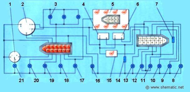 Схемы комбинаций приборов и блоков предохранителей