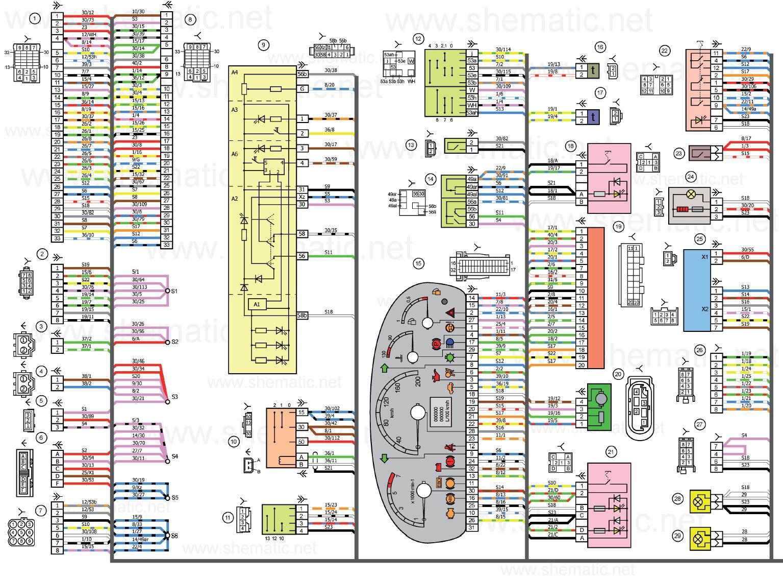 Схема электрических соединений панели приборов автомобилей LADA KALINA 11174, 11184, 11194. (нажмите для увеличения) .