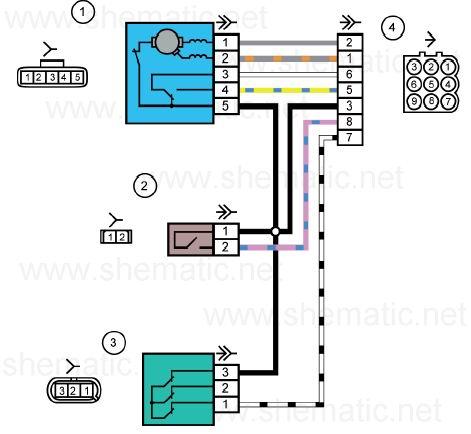 Схема электрических соединений жгута проводов коробки воздухопритока автомобилей LADA KALINA 11174, 11184, 11194.