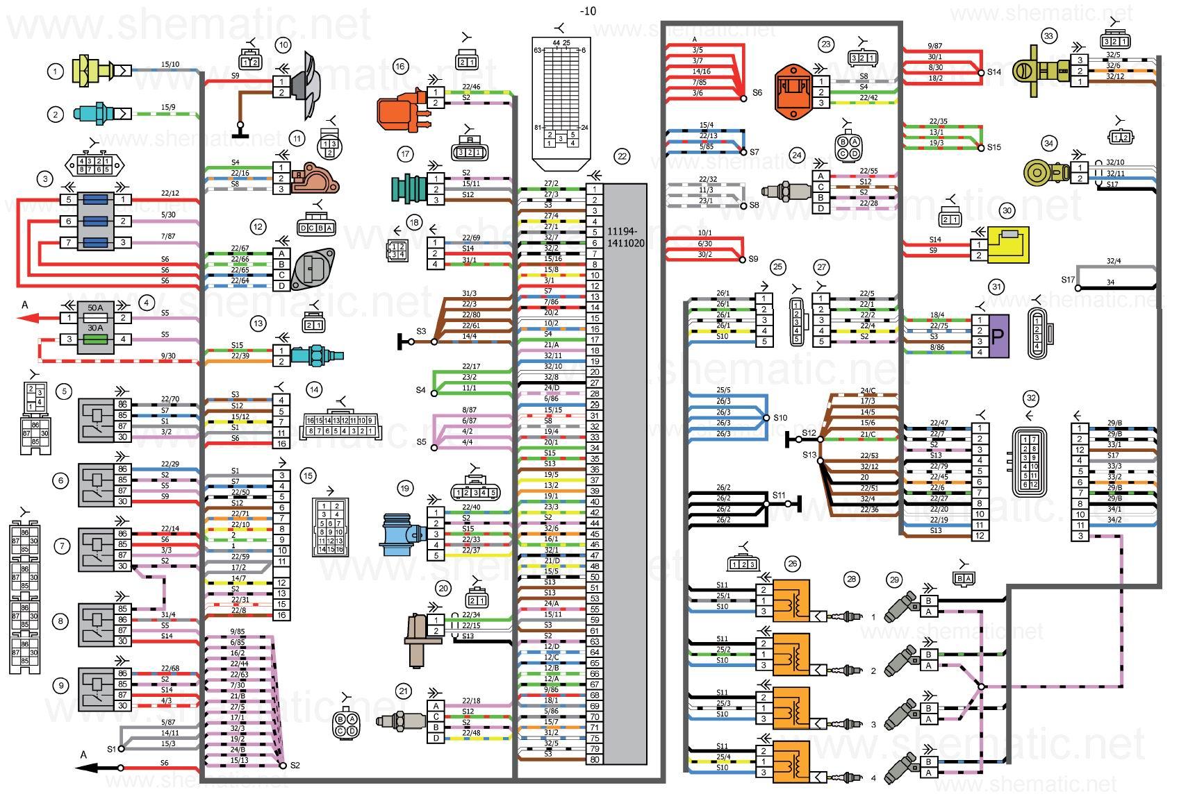 Схема электрических соединений системы зажигания автомобилей LADA KALINA 11174,11184, 11194.