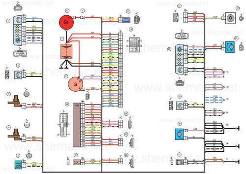 Схема электрических соединений жгута проводов переднего автомобиля LADA KALINA 11184.
