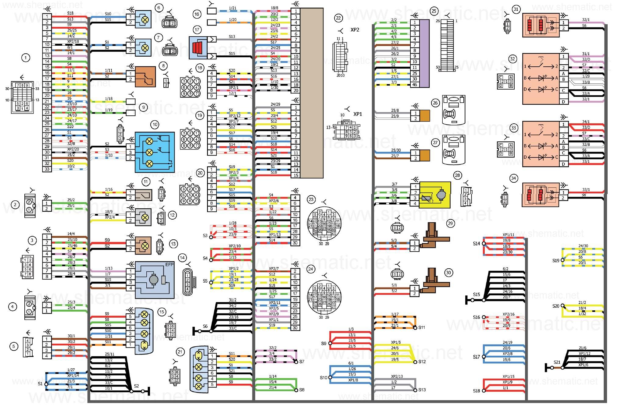 Схема электрических соединений жгута проводов заднего автомобиля LADA KALINA 11174. (нажмите для увеличения) .