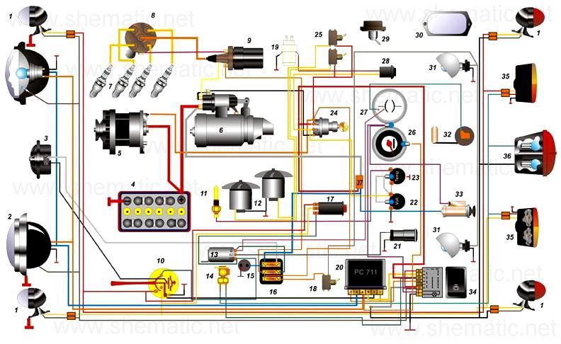 електро схема проводки модуля змз 40522