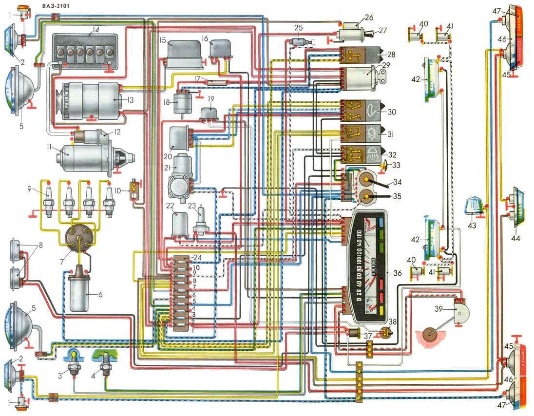 Есть ли у кого схема подключения замка зажигания на ВАЗ 2101??? мне надо порядок подключения проводов!