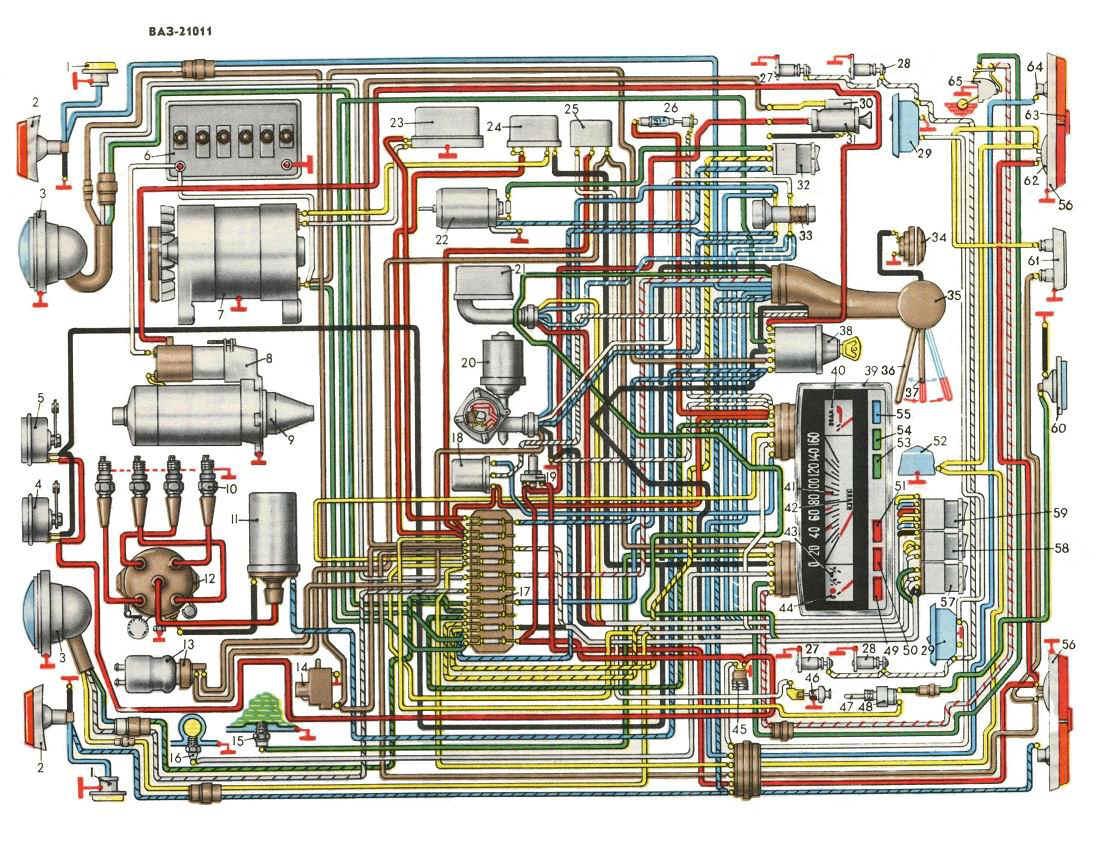 Рис. 1 Схема электрооборудования автомобиля ВАЗ 21011. (нажмите для увеличения) .