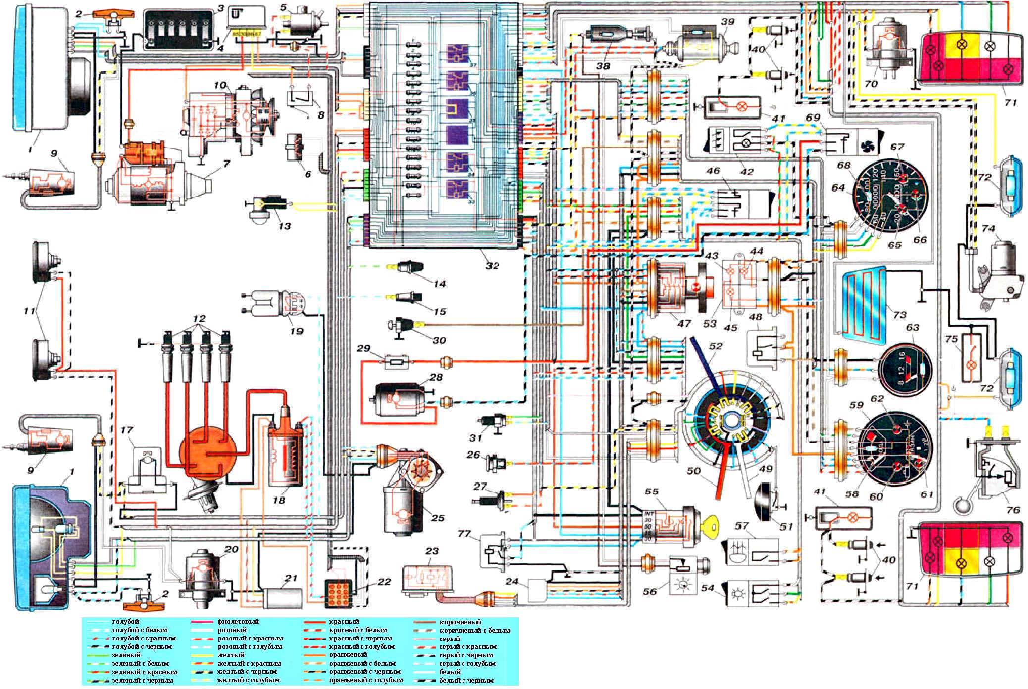 Электронная схема электрооборудования автомобилей