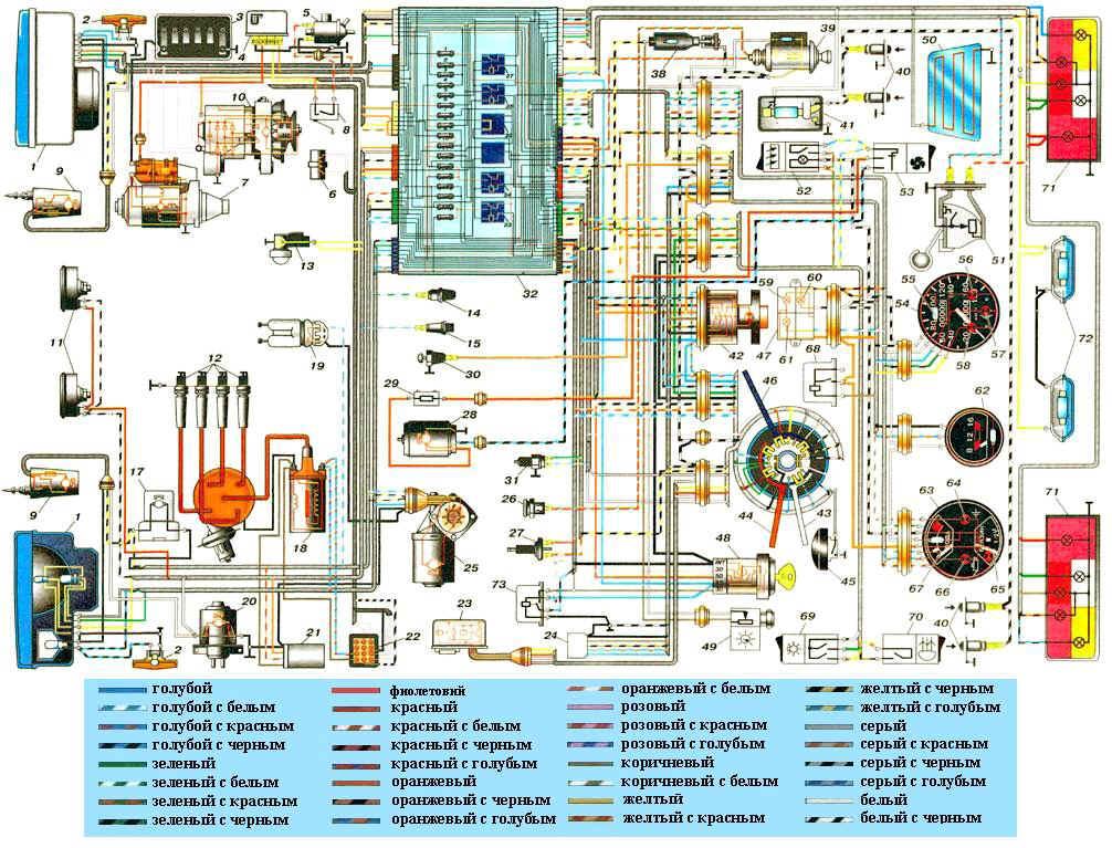 Ваз 21074 Электросхема инжектор.  Схема электрических соединений ЭСУД GM.
