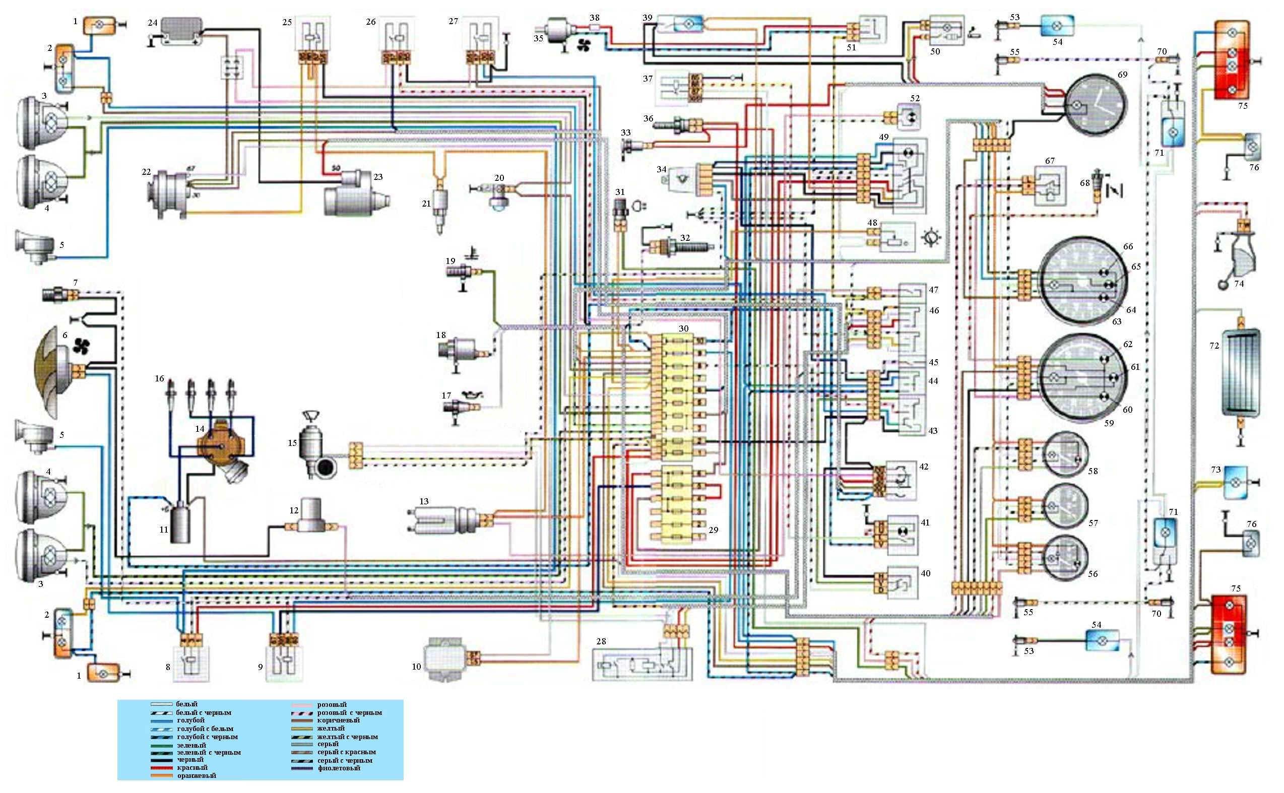 Схема электрооборудования автомобиля ВАЗ 2106.