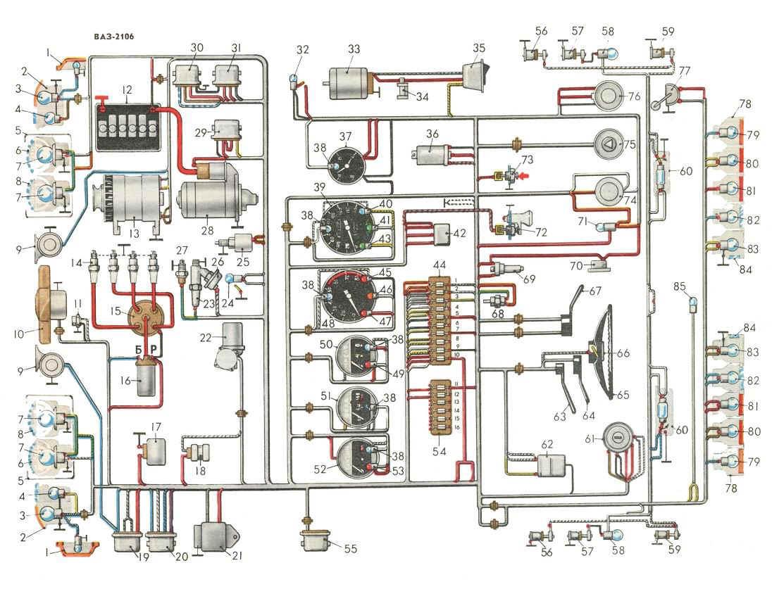 Эл схема зажигания 2106
