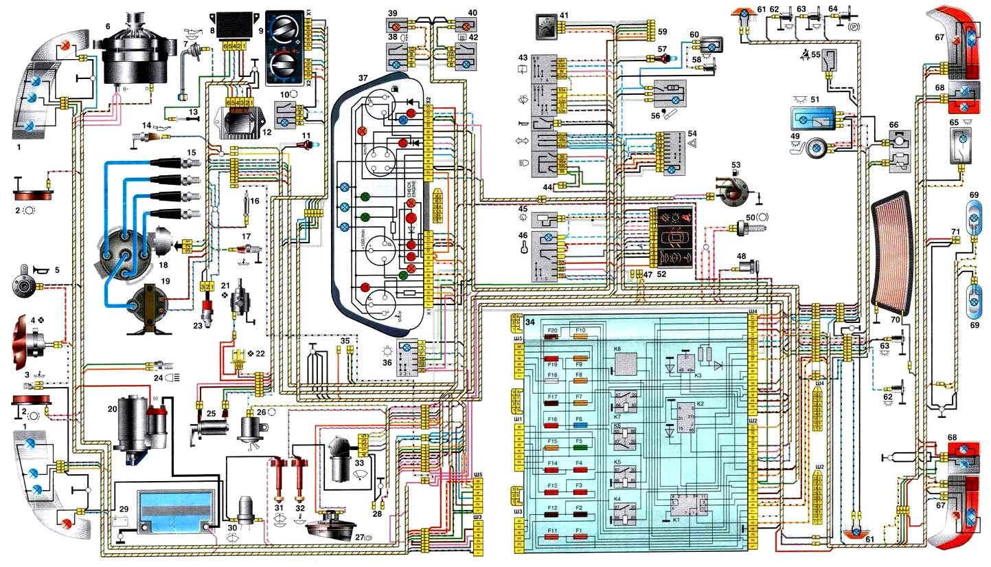 Ваз 2110 с инжектором электрическая схема