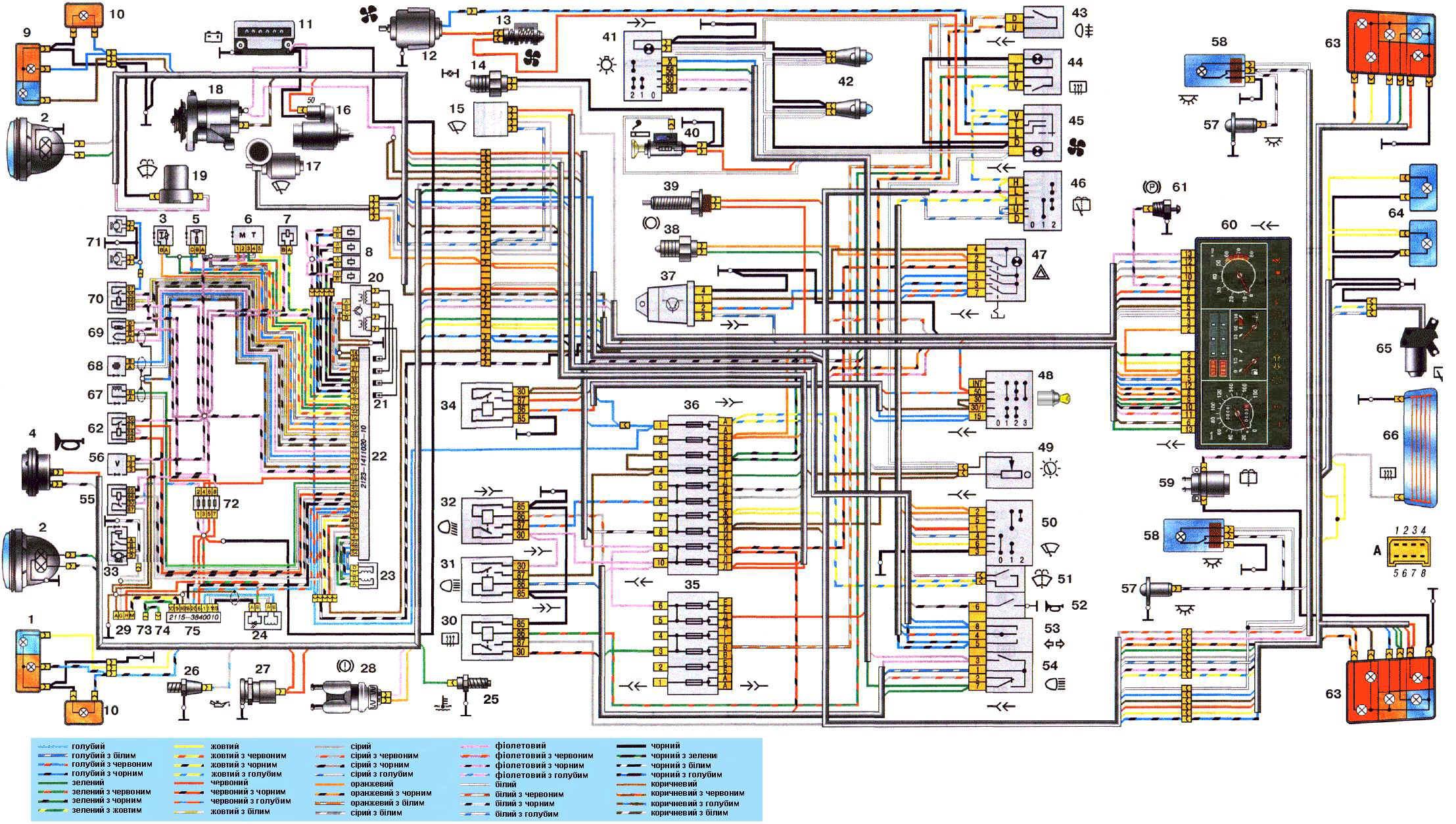 Схема электрооборудования автомобиля ВАЗ 21214.