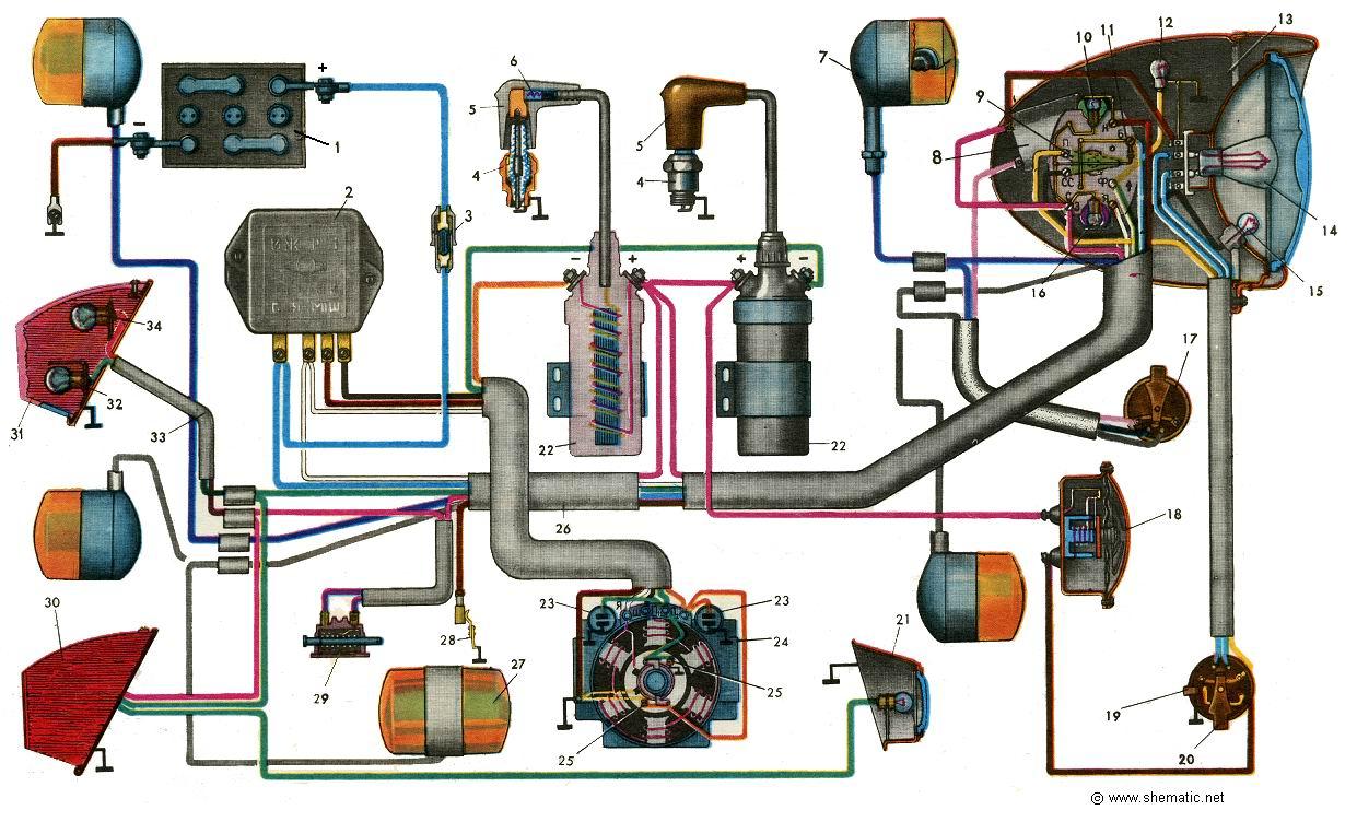 схема электрооборудования мотоциклов иж юпитер 5.иж планета 5 схема по схеме со 2-го контакта идет на Х8, с...
