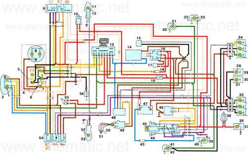 Цветная схема электропроводки иж юпитер 5 с воздушным охлаждением к свободному разъему замка 4 (на схеме 2)